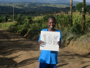 Kenya Student encourages Tarah to run 10K